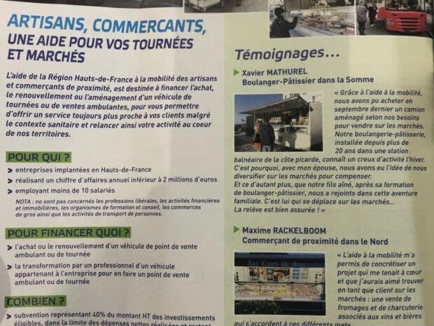 Subvention aide régionale des Hauts-de-France pour le commerce mobile